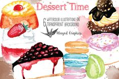 Dessert time watercolor clip art/ illustration by Winged Graphics on @creativemarket 300 DPi individual files on transparent background.                                            Perfect for crafts, scrapbooking, handmade cards, planners, stickers, home decor, journaling, blogging, web and graphic design  etc.      pastries, macarons, macaroons, cakes, cupcakes etc