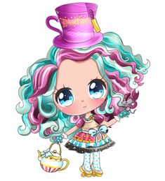 Madeline Hatter Daughter of the Mad Hatter Cute Kawaii version From Wonderland Now in Ever After High Kawaii Chibi, Cute Chibi, Anime Chibi, Kawaii Anime, Ever After High, Monster High Desenho, Raven Queen, Chibi Girl, High Art