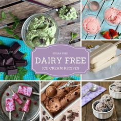 24 Creamy Sugar-Free Ice Cream Recipes that are Surprisingly Dairy Free! (I started to pin them individually, but gave up)mc Sugar Free Ice Cream, Low Carb Ice Cream, Easy Ice Cream Recipe, Ice Cream Recipes, Frozen Desserts, Frozen Treats, Sugar Free Popsicles, Smoothie Popsicles, Smoothies