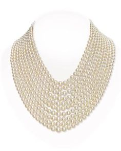 images of multiple strand necklaces | MULTI-STRAND CULTURED PEARL AND DIAMOND NECKLACE, BY VAN CLEEF ...
