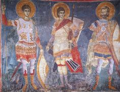 The Holy Warriors George, Theodore, and Demetrius .Manuel Panselinos,from the holy church of the Protaton at Karyes, Holy Mountain Athos. Byzantine Icons, Byzantine Art, Orthodox Icons, 14th Century, Roman Empire, Ancient Art, Archaeology, Holi, Saints