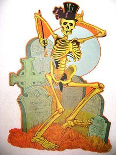 Vintage Halloween Funky Dancing Skeleton Die Cut Graveyard Tombstones Party Decor Supplies Altered Art