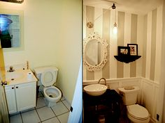 Yay finally our first project in the new house done!  Our half bath before and after.