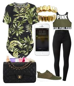 """GOLD SLUGS"" by kimah101 ❤ liked on Polyvore featuring J Brand, NIKE and Topshop"
