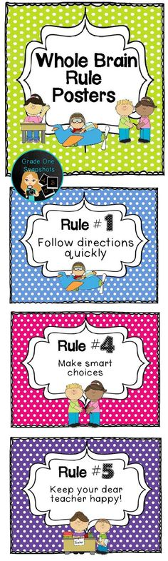 Brain Teaching Rules Posters {Freebie} {Freebie} Whole Brain Teaching rules posters. By Grade One Snapshots.{Freebie} Whole Brain Teaching rules posters. By Grade One Snapshots. Teaching Rules, Teaching First Grade, First Grade Classroom, Primary Classroom, Teaching Strategies, Teaching Music, Kindergarten Classroom, Classroom Activities, Teaching Posters