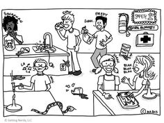 Get students talking about lab safety with a do's and don't's activity - a fun comic of lab safety mishaps they can discuss in groups