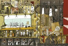 Illustration by Benjamin Chaud – an illustration for an opera called 'La maison est en carton' (The house is made of cardboard)