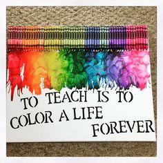 Rainbow Melted Crayon Canvas by OneStopShoppie on Etsy Teacher Christmas Gifts, Teacher Gifts, Melted Crayon Canvas, Melted Crayon Crafts, Presents For Teachers, Rainbow Theme, Teacher Appreciation Week, Melting Crayons, Classroom Themes