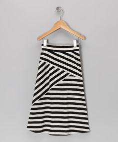 Black & White Stripe Maxi Skirt - Toddler & Girls