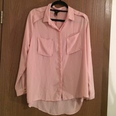 Sheer Pink Button Down Blouse with Gold Detail Sheer Pink Button Down Blouse with Pink Detail H&M Tops Button Down Shirts