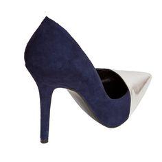 Stilettos Berta ante azul y punta espejo plata MAS34 http://www.mas34shop.com/tienda/berta-punta-plata/