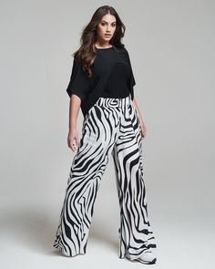 """""""Black & Wild"""" trend • mat. S/S 2017 collection Xl Fashion, Curvy Fashion, Spring Summer, Plus Size, Curvy Style, Pants, Beautiful, Collection, Black"""