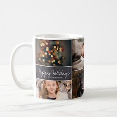 Personalized Christmas Collage 6 Photos Chalk Coffee Mug - family gifts love personalize gift ideas diy