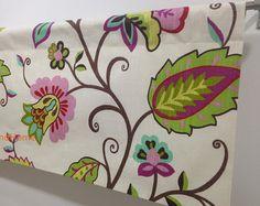 "Floral Valance 50"" x 16"" P Kaufmann Rose Juniper Lavender Cranberry Off White designer Curtain Valance Topper Window Valance Kitchen Valance"