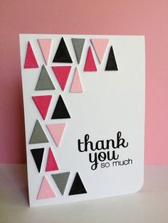 25 beautiful handmade cards note cards note and cards choose fun colors for the triangles on this handmade thank you card layering 2 or bookmarktalkfo Choice Image