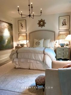 Neutral Bedroom : Monogram : Light Fixture Chandelier : Francie Hargrove : www.lissyparker.com