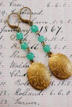Gabriella. floral brass dropvintage green glass by tiedupmemories