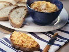 Pimento Cheese Spread with Crusty Bread as seen on Dinner at Tiffani's.  Love this show!!