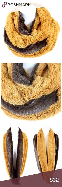 """B105 Reversible Soft Faux Fur Brown Infinity Scarf ‼️ PRICE FIRM UNLESS BUNDLED WITH OTHER ITEMS FROM MY CLOSET ‼️   Retail $67     RIDICULOUSLY SOFT! Dual sided.  This scarf is so soft you will never want to take it off.  100% acrylic faux fur. Dress up any outfit day or night. Please check my closet for many more scarves and clothing items.  Length 31""""  Width 11"""" Accessories Scarves & Wraps"""