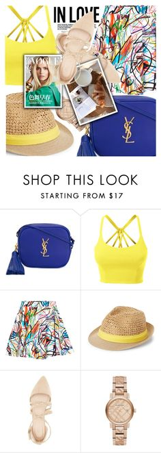 """Tilted hat, lovely lifestyle..."" by chiclookdujour ❤ liked on Polyvore featuring Yves Saint Laurent, LE3NO, Jeremy Scott, Steve Madden, Charlotte Russe and Burberry"