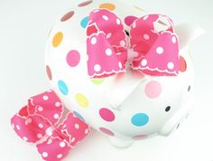 Boutique Hair BowsPretty Pink and White Polka by SheWearsitWell, $10.00