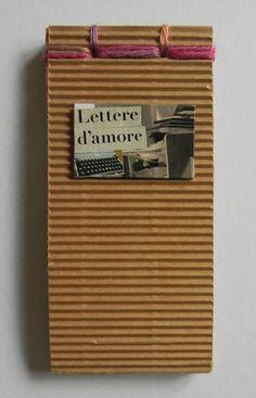 Mini block notes con collage su carta Havana e rilegatura giapponese