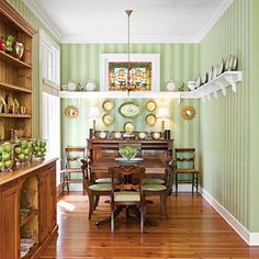 Like this plate rail, except for me it would be a teacup and saucer rail. No wallpaper though, because its my arch-nemesis, maybe paint the stripes instead. Faux Wainscoting, Dining Room Wainscoting, Wainscoting Styles, Wainscoting Height, Backsplash, Diy Projects, Room Decor, Interior Design, Design Design