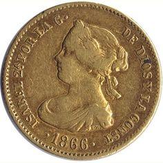 Moneda de oro 4 Escudos Isabel II 1866 Madrid.