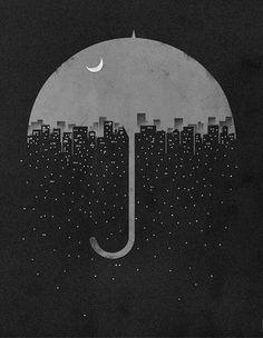 #b&w #art #umbrella #night #city #skyline #moon