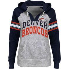 Broncos Store : Denver Broncos Ladies Huddle V-Neck Hoodie - Ash/Navy Blue Denver Broncos Hoodie, Denver Broncos Womens, Broncos Gear, Denver Broncos Football, Go Broncos, Broncos Fans, Broncos Store, Seattle Seahawks, Broncos Memes