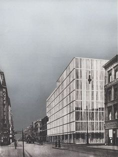 Ludwig Mies van der Rohe, View from Friedrichstrasse. Photomontage, 1923. Airbrushed gouache on gelatin silver photograph.
