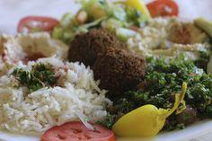 Vegetarian Plate Middle Eastern Recipes, Falafel, Grains, Rice, Vegetarian, Plates, Food, Licence Plates, Plate