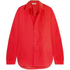 Balenciaga Oversized cotton-poplin shirt (8.416.140 IDR) ❤ liked on Polyvore featuring tops, oversized tops, red top, shirt top, tailored shirts and balenciaga