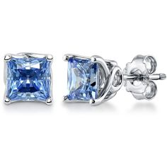 Silver Solitaire Stud Earrings Made with Swarovski Zirconia Princess... ($40) ❤ liked on Polyvore featuring jewelry, earrings, accessories, blue, lullabies, stud earrings, women's accessories, blue jewellery, blue stud earrings and princess cut earrings