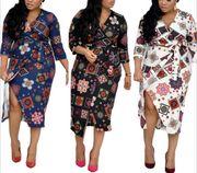 Foreverfad African women's wish good quality V-neck printed split dress mother dress Mid Length Dresses, Short Dresses, Latest African Fashion Dresses, Mothers Dresses, New Print, African Women, Pencil Dress, A Line Skirts, Dresses For Sale
