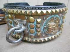 Antique Vintage ENORMOUS Show Quality Circus Studded Dog Collar TIGER BEAR LION