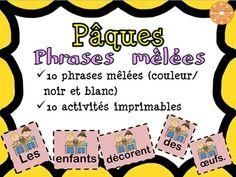10 phrases sur des cartes colorées et en noir et blanc. 10 activités imprimables. Thème de Pâques.