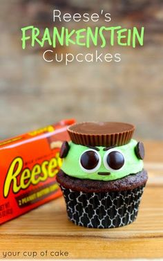 Reese's Frankenstein Cupcakes - so cute for Halloween or even a monster birthday party