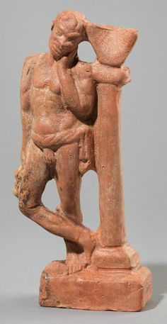Statuette of Grieving Slave with Sundial, Necropolis, Myrina, Hellenistic (?). Terracotta. H. 19 cm; W. 7.5 cm. National Archaeological Museum, Athens, A 5007 © Institute for the Study of the Ancient World / Orestis Kourakis, photographer