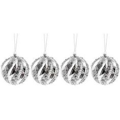 Silver Glitter Plastic Ball Ornaments
