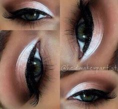 Create a smokey brown with a hint of rose and a white eyeshadow base for a great day look for eyes