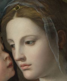 Detail of The Madonna & child with Saints detail, painted in 1540 by Agnolo Bronzino. The National gallery London.  Italian painter born in Florence Italy.