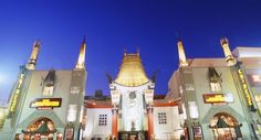 Grauman's Chinese Theater. The theater is famous for it's celebrity hand prints cast in concrete on Hollywood Blvd.