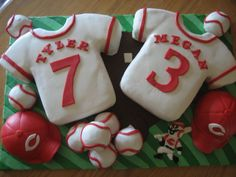 Wedding shower cake for a couples shower that had a Cincinnati Reds theme. The couple is getting married July hence the 7 and 3 on the jerseys. Baseball Wedding Cakes, Baseball Cakes, Baseball Food, Reds Baseball, Baseball Party, Sports Snacks, Team Snacks, Wedding Shower Cakes, Unique Wedding Cakes