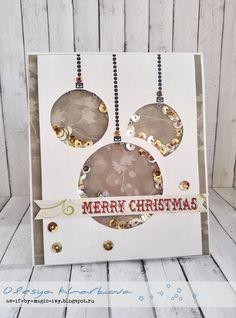 Christmas shaker card Новогодняя открытка - шейкер ( погремушка) Die Cut Christmas Cards, Stamped Christmas Cards, Xmas Cards, Handmade Christmas, New Year's Crafts, Valentine's Day Crafts For Kids, Quilling Christmas, Christmas Crafts, Quilling Cards