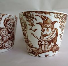 Antique Victorian Punch and Judy Frog Tea cups by AustinModern