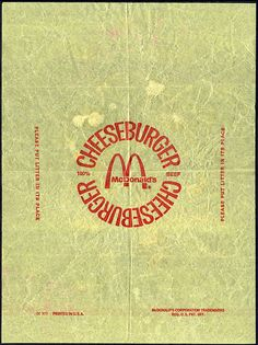McDonald's Cheesburger sandwich paper wrapper - 1970's | Flickr - Photo Sharing!