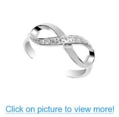 .925 Sterling Silver CZ Infinity Toe Ring Body Jewelry Adjustable #Sterling #Silver #CZ #Infinity #Toe #Ring #Body #Jewelry #Adjustable