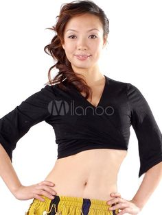 Comfortable Black 100% Cotton Belly Dance Top - Milanoo.com