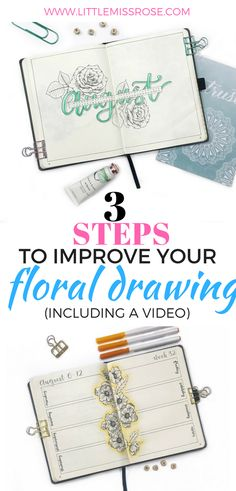 Floral drawings are beautiful and look amazing in bullet journal layouts. Learn how to improve your floral drawing with 3 easy steps! Making A Bullet Journal, Bullet Journal Font, Bullet Journal How To Start A, Bullet Journal Junkies, Bullet Journals, Art Journals, Floral Drawing, Drawing Flowers, Bullet Journal Inspiration